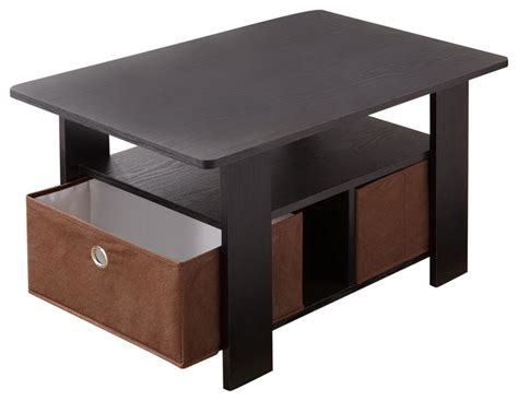 giordana modern coffee table with storage baskets