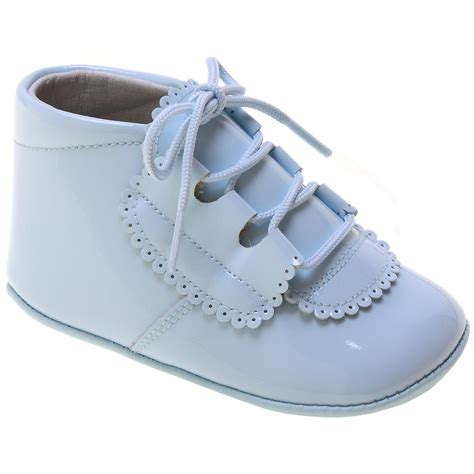 baby pram shoes baby boy blue patent pram shoes in leather with scallop