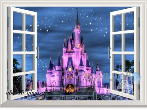 disney castle wall sticker 60x80cm disney princess castle star 3d window wall decals