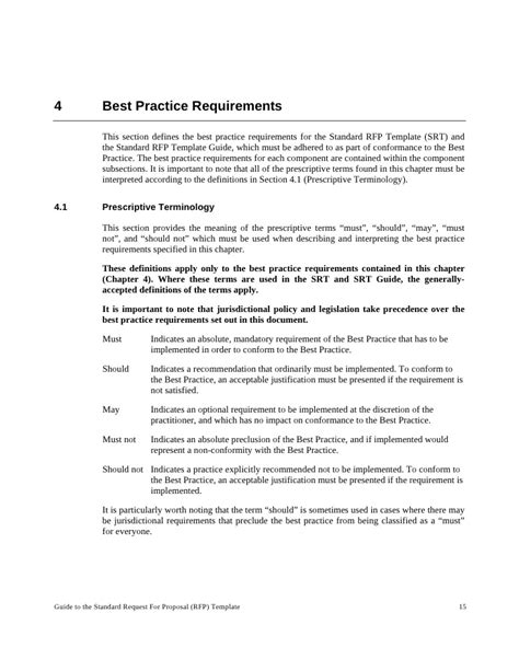 standard rfp template best practice guide to the standard request for