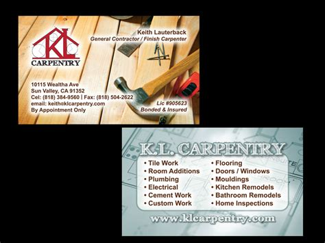 carpentry business card templates free business cards zuwerks