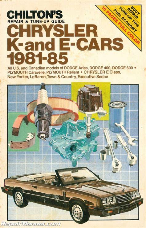 old cars and repair manuals free 1994 chrysler lebaron user handbook used chilton 1981 1985 chrysler k and e cars repair manual