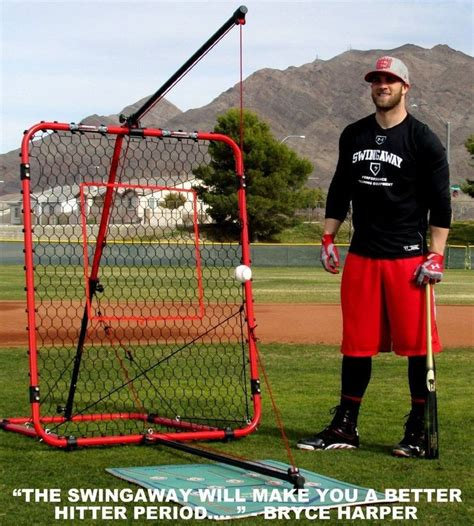 baseball swing trainers swingaway baseball practice hitting station bryce harper