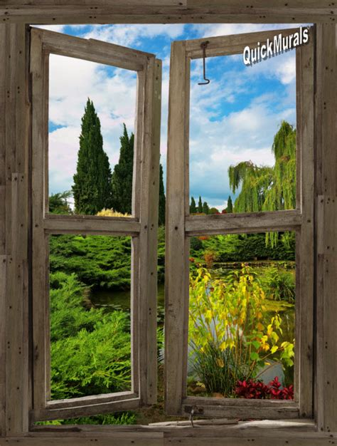 window wall murals garden lake cabin window peel stick 1 canvas wall mural