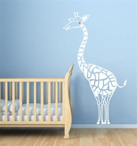 Happy Giraffe Nursery Decal Contemporary Wall Decals Giraffe Wall Decals For Nursery