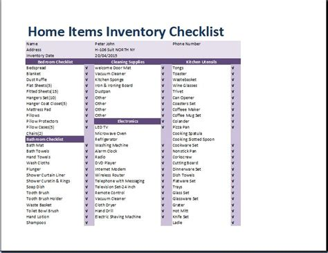 household items list for new home comprehensive home inventory checklist template word