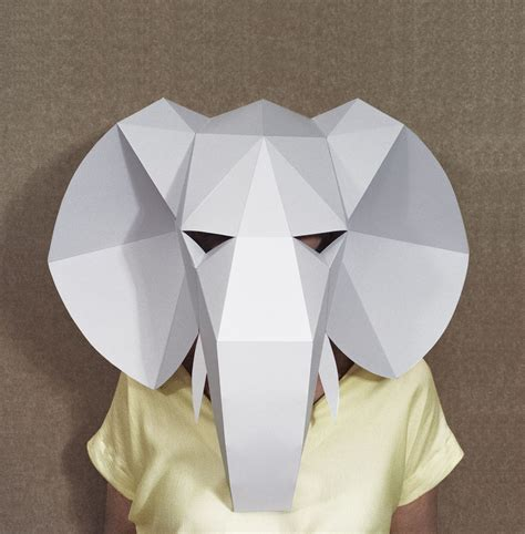 Easy Paper Crafts For Adults - elephant mask diy paper creation pdf pattern printable