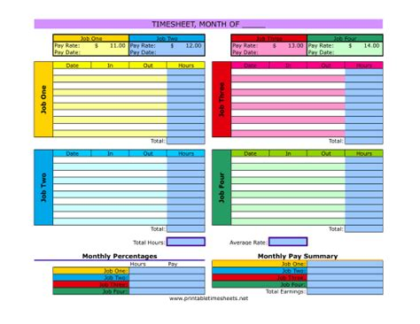 printable multiple employee time sheets multiple job timesheet printable time sheets free to