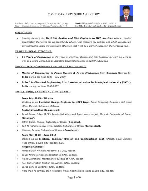 Resume Sles For Experienced Electrical Engineers Resume Electrical Engineer Mep 9 Years Exp