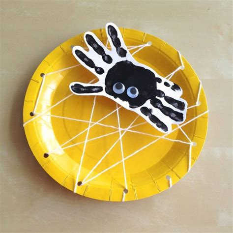 Paper Spider Craft - handprint spider paper plate spiderweb craft for