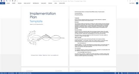Implementation Plan Template Ms Word It Documentation Templates