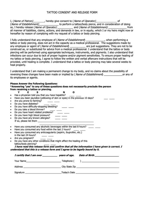 tattoo medical history form top 8 tattoo release form templates free to download in