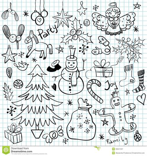 christmas and winter holiday doodles royalty free stock