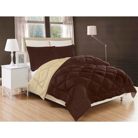 cream comforter twin elegant comfort down alternative chocolate brown and cream