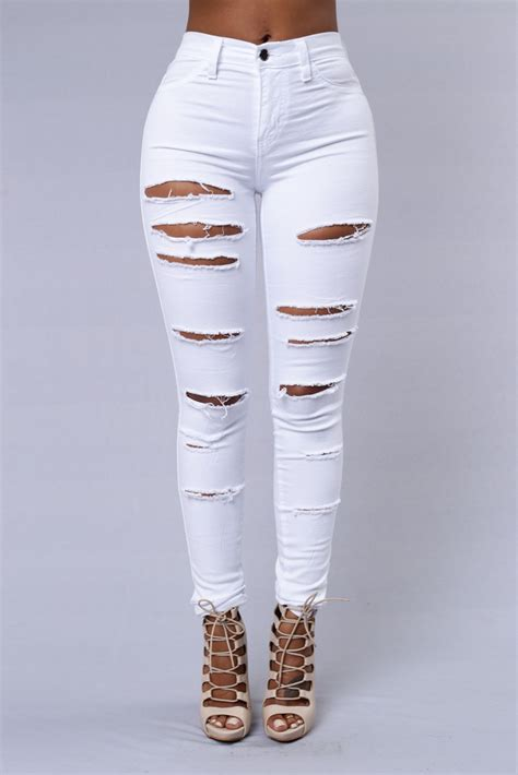 Apparel Lab Womens Ripped White slash and burn white legs clothes and