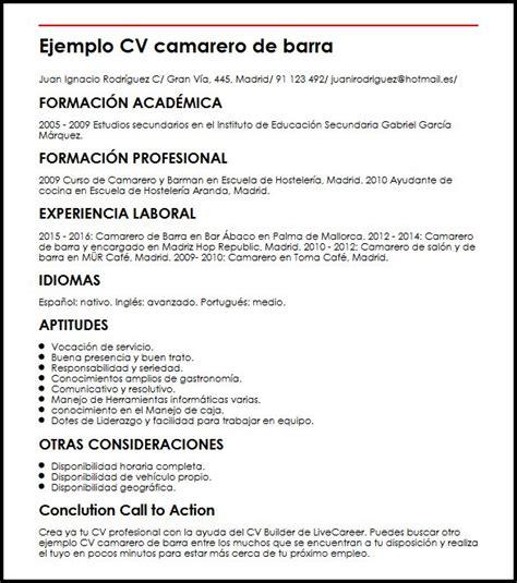 Modelo Curriculum Para Hoteleria Ejemplo Cv Camarero De Barra Micvideal