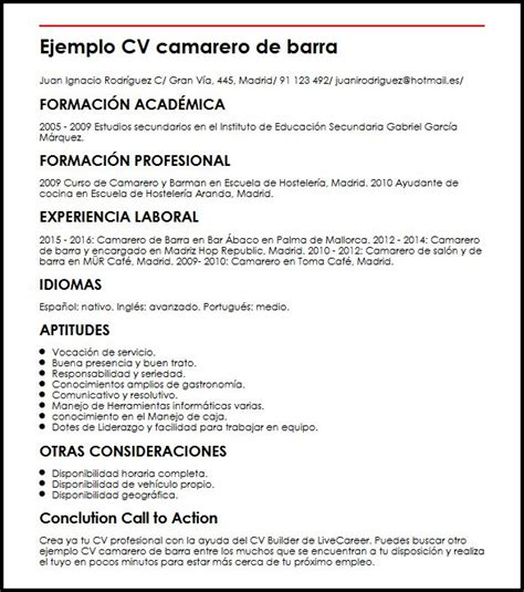 Modelo Curriculum Vitae Para Hosteleria ejemplo cv camarero de barra micvideal
