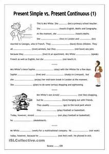 no frills worksheet for all ages present simple vs