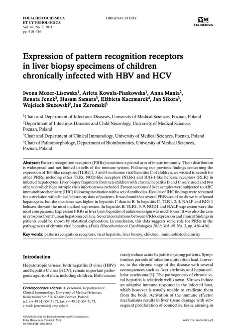 pattern recognition receptors pdf expression of pattern recognition receptors in liver