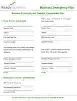 sample business emergency plan fema gov