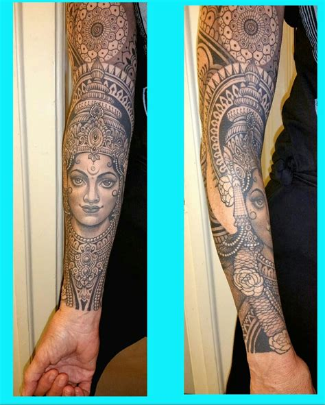 hindu tattoo saraswati black and grey sleeve beautiful