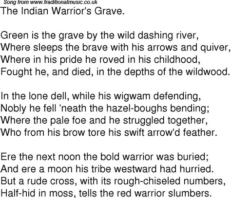 song lyrics india old time song lyrics for 03 the indian warriors grave
