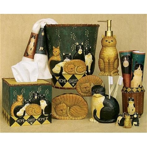 cat themed bathroom decor country cats bath accessories collection kitty stuff