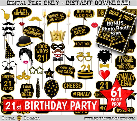 printable photo booth props for 21st birthday 21st birthday party printable photo booth props black and
