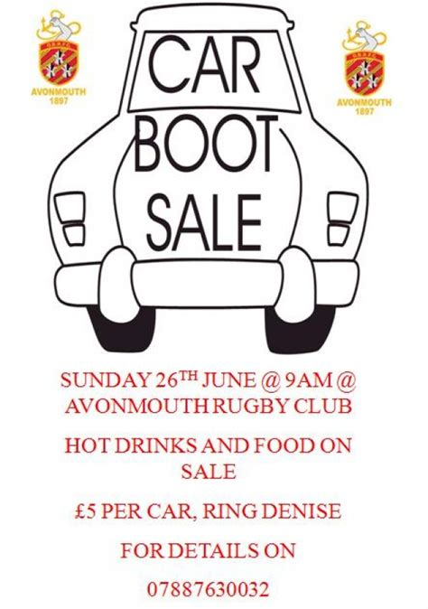 Car Boot Sale Avonmouth Old Boys Rfc Boot C Flyer Template