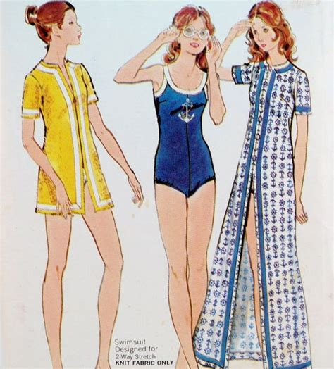 cover up pattern swimsuit 1970s misses swimsuit and cover up vintage sewing pattern