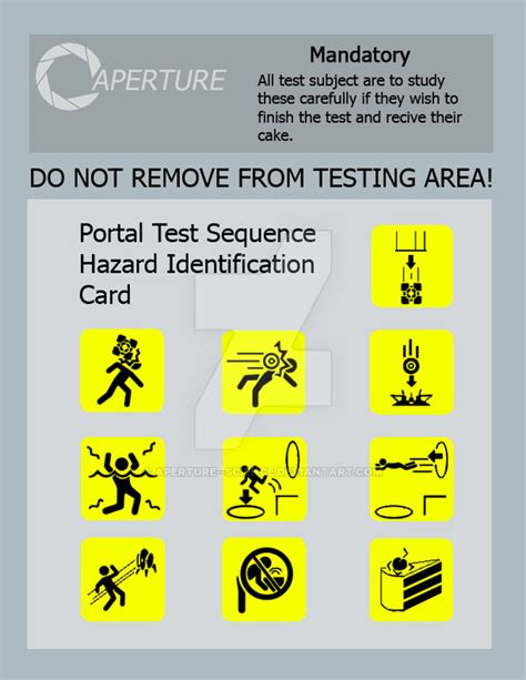 aperture science id card template test sequence hazard id card by aperture science on