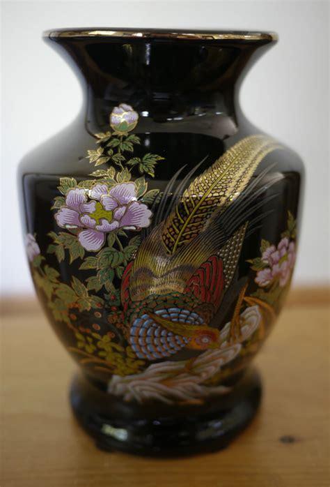 Japanese Porcelain Vases by Vintage Japanese Black Gold Pheasant Floral