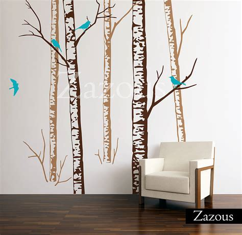 zazous wall stickers birch forest brown wall stickers by zazous notonthehighstreet
