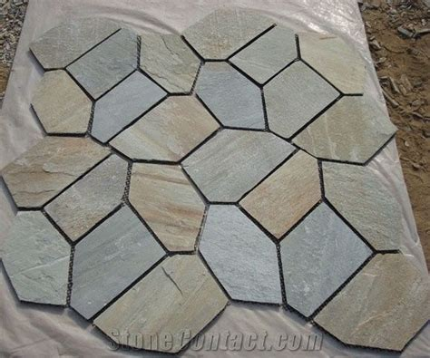 China Rustic Slate Random Flagstone Pavers for Road /Beige