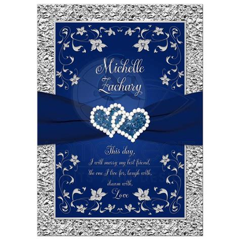 Wedding Invitations Navy by Wedding Invitation Navy Blue Silver Joined Hearts
