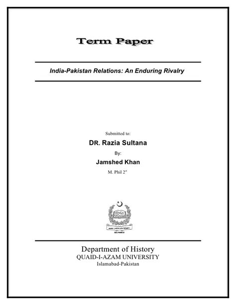A Term Paper - term paper india pakistan relations an enduring rivalry