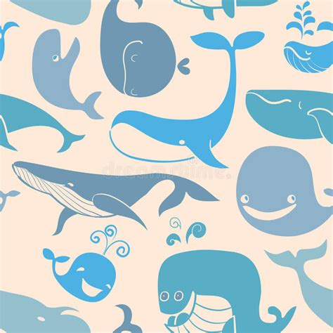 wallpaper cartoon wale cute doodle blue whales marine seamless background stock