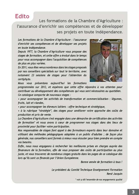 stage chambre agriculture calam 233 o catalogue de formations