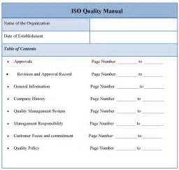 manual template for iso quality template of iso quality