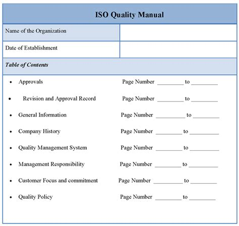 Free Quality Manual Template manual template for iso quality template of iso quality