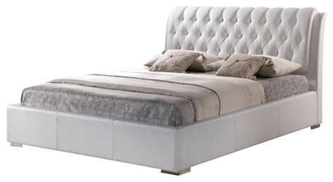 Baxton Studio Jeslyn White Tufted Headboard Modern Bed by Baxton Studio White Modern Bed With Tufted