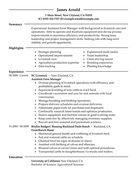 Farm Manager Sle Resume by Best Restaurant Assistant Manager Resume Exle Livecareer