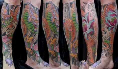 tatouage veau jambe japonais dragon par forever tattoo
