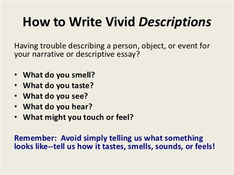 how to section someone english descriptive writing