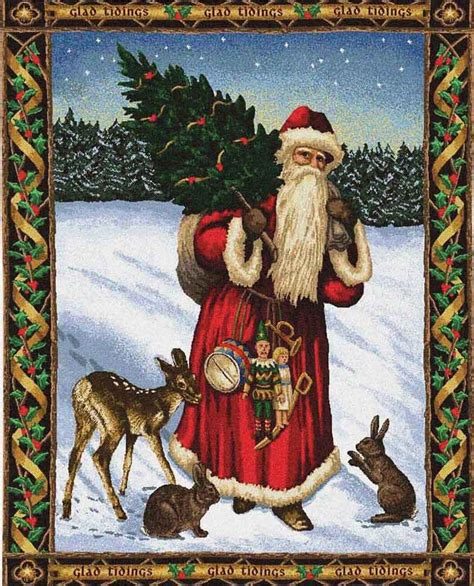 father christmas red tapestry red