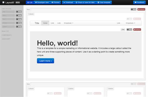 layoutit interface builder for bootstrap easy to use drag drop bootstrap interface builder web