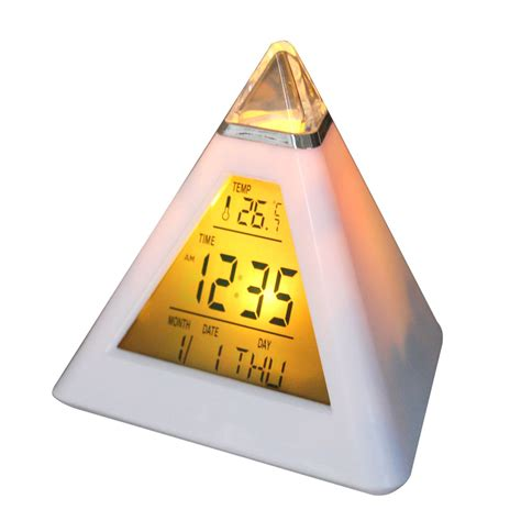 Senter Vena color changing pyramid clock jk 8082 white