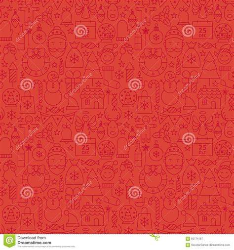 christmas pattern lines thin line holiday christmas red seamless pattern stock
