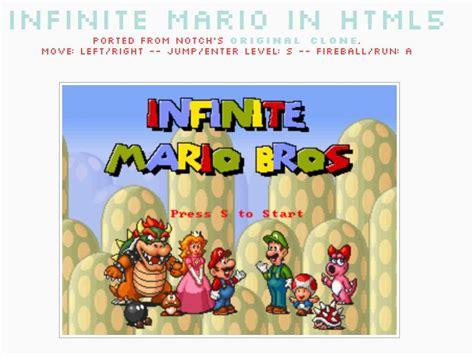infinate mario mario in html5 cool leuk voor tussendoor heerlijk