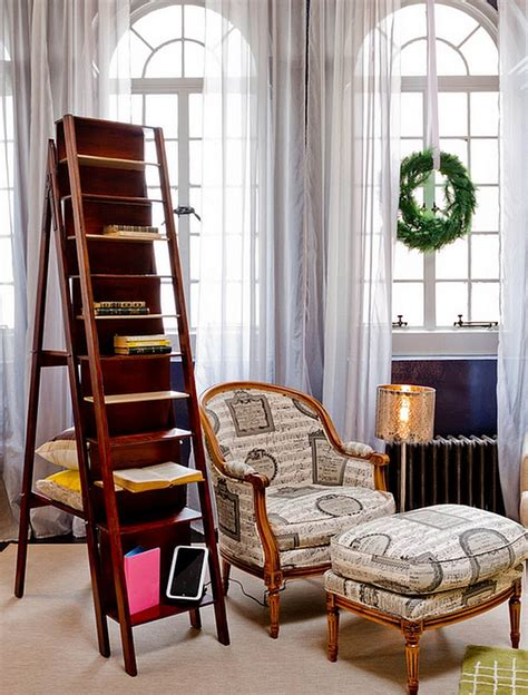 a ladder bookcase to comeplet your reading nook decoist